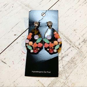 Jcrew Tortoise Teardrop Flowers and Hem Earrings